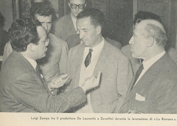 Luigi Zampa tra il produttore De Laurentiis e Zavattini