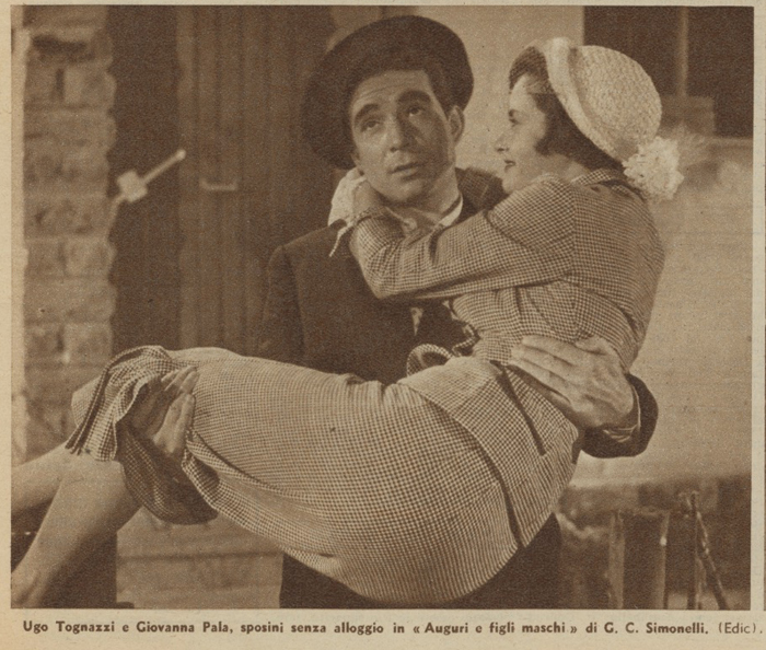 Ugo Tognazzi e Giovanna Pala in Auguri e figli maschi 1951